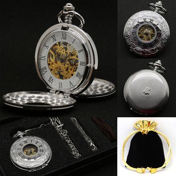 Luxury Steampunk Skeleton Mechanical Pocket Watches Sets Hand Wind Fob Watch Men Women Necklace Pendant Gift with Chain Box Bag