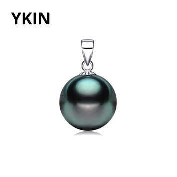 YKIN Pearl Pendant 9-12MM Tahitian Shell Pearl Pendant Fashion Sterling-Silver-Jewelry Girls Gift
