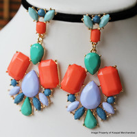 Gem Statement Earrings, Colorful Earring Studs,Fashionable Party Jewelry 2013
