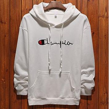 Champion 2018 early autumn men's and women's sweatshirts loose hooded pullover sweater White
