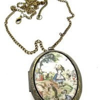 Fallen Saint Alice in Wonderland Scene Locket Necklace