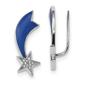 26mm Rhodium-Plated Sterling Silver Blue Enamel CZ Star Ear Climbers