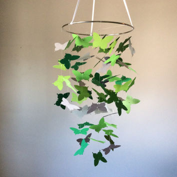 Butterfly paper mobile. Green and Grey floating butterfly mobile, Nursery  Mobile, Modern crib mobile, Happy Birthday, custom mobile