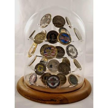 Challenge coin display, Glass Dome Coin Display Hand Made By Veterans