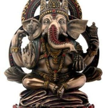 Seated Ganesh Wearing Crown Statue on Lotus Base, Bronze and Color - 7002