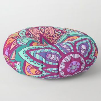 Bohemian Carnival Floral Mandala Floor Pillow by inspiredimages