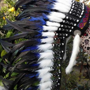 28inch purple Indian feather Headdress indian warbonnet american costume dancewear halloween party costume supply decor