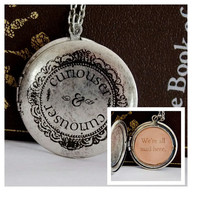 Curiouser & Curiouser Locket Necklace. We're All Mad Here Alice in Wonderland Necklace. 18 Inch Chain.