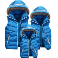 Family Matching Solid Puff Vest With Hood-Adults