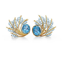 Tiffany & Co. - Tiffany & Co. Schlumberger® Seven Leaves ear clips of diamonds and aquamarines.