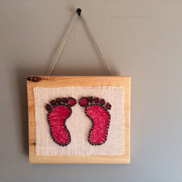 Nursery footprint wall or shelf decor!