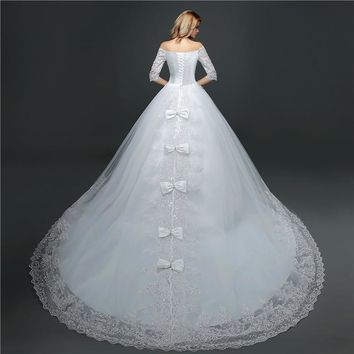 Wedding Dress Style V Neck Half Sleeve Lace Crystal Designer Gown