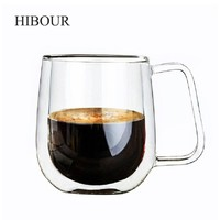 HIBOUR Coffee Cups Set Tea Mugs Handmade Creative Beer Drink a Mug of Office Mug Transparent Drinkware Double Glass Cups
