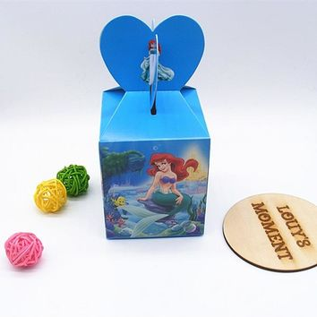 Free Shipping 12 X Ariel Princess Candy Box Girl's Birthday Gift Box Baby Shower Party Deco Unicorn Mermaid Gift Box