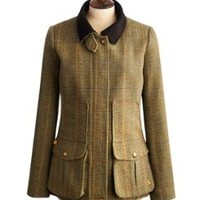 Green Mr Toad Tweed Fieldcoat Womens Semi-Fitted Tweed Field Coat | Joules US