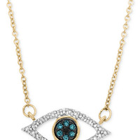 Wrapped in Love Diamond Evil-Eye Pendant Necklace (1/6 ct. t.w.) in 10k Gold, Created for Macy's - Necklaces - Jewelry & Watches - Macy's