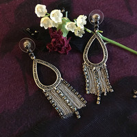 Marcasite Chandelier Earrings Vintage Modern Design Jewelry With Silver Rhinestones and Chains Teardrop Shape Post Style Drop Earrings