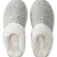 Faux Fur Knit Slippers