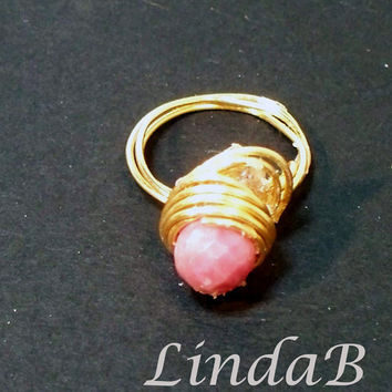 Pink Rhodonite Gemstone Wire Wrapped Ring Size 5 by lindab142