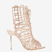 Sophia Webster Delphine Strappy Cage Metallic Sandal at INTERMIX | Shop Now | Shop IntermixOnline.com