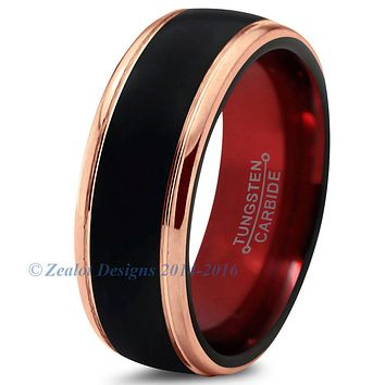 Red Chromacolor Black Tungsten Beveled Rose Gold Plated Ring
