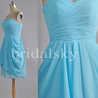 Short Sky Blue Bridesmaid Dresses Party Dresses Homecoming Dresses Prom Dresses