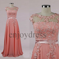 Custom Pink Applique Beads Long Prom Dresses Formal Evening Gowns Wedding Party Dresses Formal Party Dresses Bridesmaid Dresses 2014