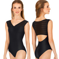 Adult Jacquard Stripe Wide Tank Strap Leotard
