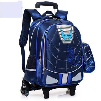School Backpack Student School Trolley backpack bag for boy boy's school bag with wheels kid's Rolling luggage Bag wheeled Backpack for Children AT_48_3