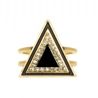 House of Harlow 1960 Jewelry Teepee Triangle Ring Black