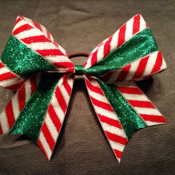 3 inch red and green glitzy holiday Christmas cheer bow