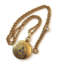 Vintage Photo Locket Gold Filled Simmons Pendant Necklace Victorian Picture Fob & Chain Blue Enamel Flowers Antique Estate Jewelry