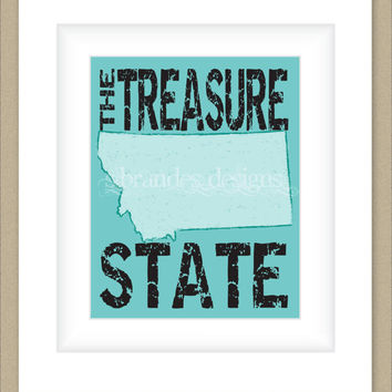 8x10 Montana Print, The Treasure State Map Art Custom Colors