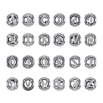 JewelryPalace Vintage Letter A-R Cubic Zirconia Aucthentic 925 Sterling Silver Charm Bracelet  Bangle DIY Jewelry Gifts For Her