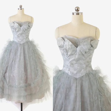 Vintage 50s PROM DRESS / 1950s Pale Blue Atomic Swirl Tulle Cupcake Strapless Party Gown S