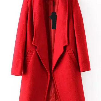Red Long Sleeve Woolen Coat