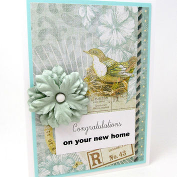 Congratulations on Your New Home - New Homeowners Card - Congratulations - Soft Turquoise - Vintage Bird - Blank Card - Botanical Card