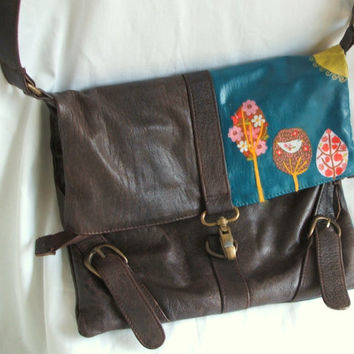 Upcycled satchel tote bag, faux leather bag, woodland and bird decoupage, teal color block, funky bag, preppy bag