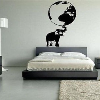 Elephant Carring the Earth Wall Art Sticker Decal 7627
