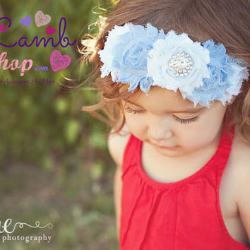 Shabby Flowers Baby headband in Blue White, girls Hair Band, Couture newborn hair band, Newborn photography props, Etsy Canada