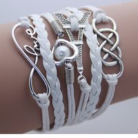 Leather Infinity Charm Bracelet Set - Various Styles Available