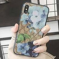 GUCCI Classic Floral Printed Glass Phone Case iPhone7p/8p All Inclusive Cover Blue