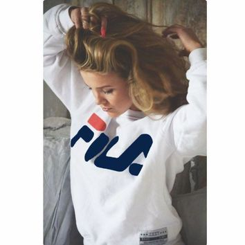 FILA Fashion Women Men Print Scoop Neck Top Sweater Pullover
