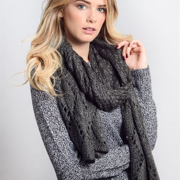 Diamond Stitch Scarf - Gray