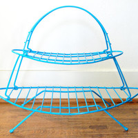 Vintage Aqua Magazine Rack, Metal Wire Shelf, Mid Century Atomic Shelf
