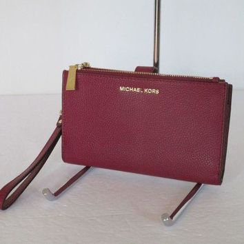 DCCKB7E New Michael Kors Double Zip Cherry Red Leather Wallet Wristlet