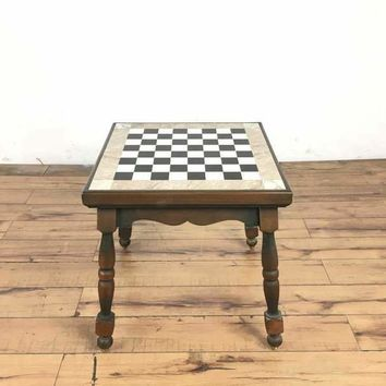 Vintage Carved Wood Inset Marble Top Chess Table