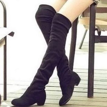 Brand new Hot Women Boots Autumn Winter Ladies Fashion Flat Bottom  Over The Knee Thigh High