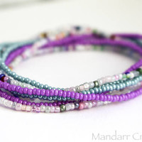 Seed Bead Stretch Bracelets Set of Six, Teal Purple and Pastel, Stretchy Jewelry, Ready to Ship Gift for Her