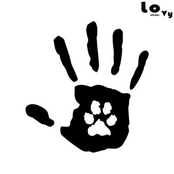 Creative Hand Print With Paw Print Dog Cat Pet Rescue Vinyl Car Sticker/Decal